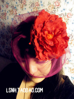 Fashion style beautyful Lady to Party wedding hair Red flowers women dress mini top fascinator cocktail hats with clips