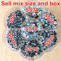 Mix 7 Sizes 1490pcs/Lot with flower shape box ,Clear AB HotFix FlatBack Rhinestones,Hot Fix glitters crystals stones
