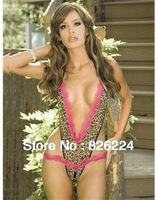 Q103  leopard printed with a plunging V-neck Edged in pink lace sexy lingerie hot with a pink bow satin