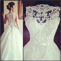 2013 New Arrival Amazing Sleeveless Crystal Ball Gowns Wedding Dresses Free Shipping