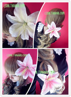 New Fashion White Pink 2Color women adornment for the hair accessories rosette flower pin hair bows with clips