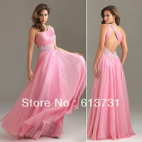 2013 New Arrival Pink One-Shoulder Long Prom Dresses Fashion Chiffon Evening Party Dresses Beading Waist  For Special Occasion