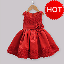 Girls Dresses Pink Cotton Top With Lace Hem And Hollow Rose Pattern Dresses Baby Clothing Kids Princess Dresses GD31011-13
