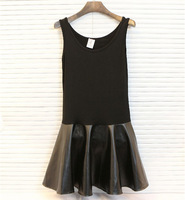 New Fashion Women's Modal Cotton Pu Leather Patchwork A-Line Sleeveless Crew Neck Pleated Black Slim Basic casual mini Dress