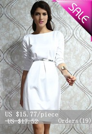 Body-conscious-Dress-with-Half-Length-Sleeves-White-LC2663-1-9754