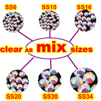 Mix 6 Sizes 1440pcs/Lot ,Clear AB HotFix SS6 SS10 SS16 SS20 SS30 SS34 FlatBack Rhinestones,Hot Fix glitters crystals stones