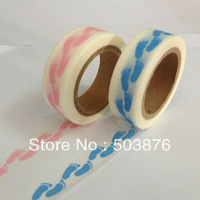 15mm*10m 2 rolls/lot Cute baby blue suit decorated small footprint and paper tape handmade essential sticker album