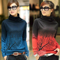 2013 Fashion Autumn Sweater Women New Women's Turtleneck Print Gradient Color Sweater Cashmere Sweater Pullovers 5 Size 6 Color