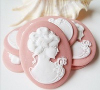 Wholesale Fashion Cameo Embedded In Jewelry Set  For Necklace 500pcs/lot  Light Pink 30*40mm Lady Avatar Resin Cameo Brooches