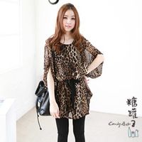 2014 Spring summer new waist belt  flying squirrels sleeve leopard  Chiffon dress Loose batwing coat