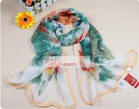 chiffon scarf Fashion spring Beach scarves New fall shawl long 165x55cm Flower Print silk women Wrap 2014 Hot 5 colors LTF0004