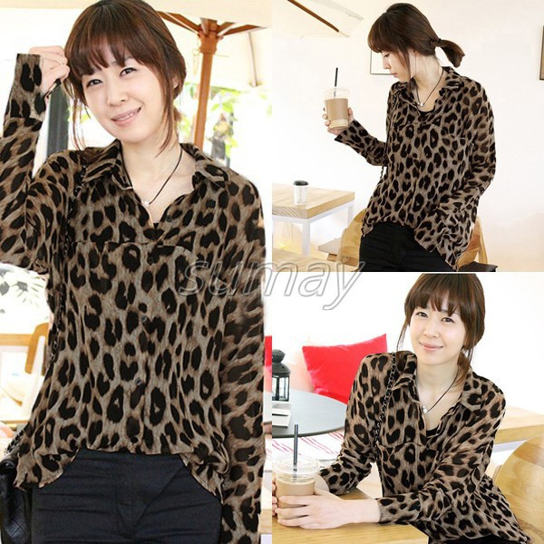 Free-Shipping-2013-Womens-Leopard-Top-Shirt-Button-Down-Chiffon-Blouse-S-M-L-XL-XXL