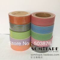 15mm*10m  10 rolls/lot Straight grain series color tape festive washi tape set (Pink purple, Black, Dark blue, Orange etc.)
