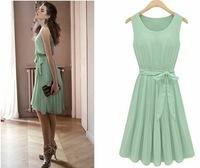 New Spring 2014 Women Sleeveless Vest Pleated Chiffon Casual Green Sun summerbeach Dress