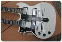 Custom left hand EDS1275 Double Neck Electric Guitar In White E4