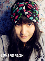 Europe new fashion double fabric dot wool cotton hat hair acessories elastic turban headband headbands hair bands women headwear