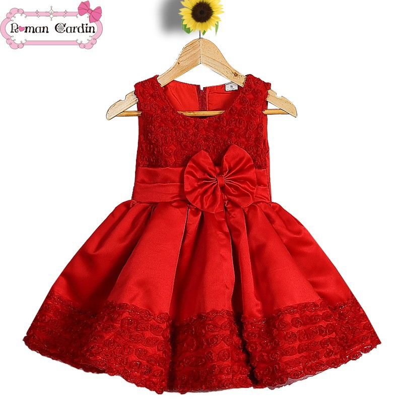 kids party dresses one piece dresses for fat girls modern girls dresses red dress 01