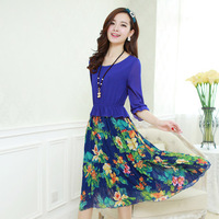 2014 new brand dress Ladies European leg spring models the latest casual Chiffon A-Line girl dress