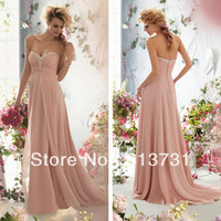 Hot Sale Elegant Sweetheart Floor-Length Beaded Pink Chiffon Long Evening Dresses 2013 New Arrival Prom Gowns Weddings & Events