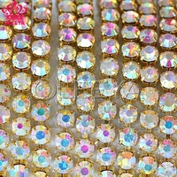Free shipping 10yard/roll ss8 crystal AB rhinestone cup chian silver base stones and crystals for wedding decoration