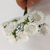 Free shipping 100 / lot White Mulberry Paper Flower Bouquet/wire stem/Scrapbooking Flower simulation flowers sunflower
