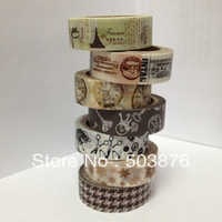 15mm*10m 7 rolls/lot New Mix Kind of Washi Tape Set Top sell out Christmas Hot Fashion Gift  sticker album