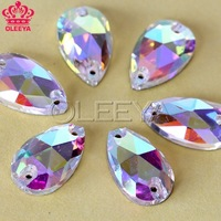 120pcs 7x12mm droplet Sew on rhinestones Crystal AB color  Flatback Waterdrop  Shape Sewing Crystal Stones With 2 holes