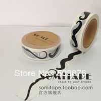 15mm*10m 3 rolls/lot Moustache Pic White and Black Color 3 pieces set festival washi tape sticker album