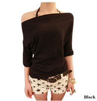 Fashion Stylish Sexy Womens Trendy Slash Neck Off-Shoulder Casual Tee Solid Color Thin Elastic Basic T-Shirt Top