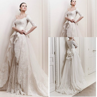 Free_Shipping_Luxury_V_Neck_Long_Sleeve_Zuhair_Murad_Wedding_Dresses_with_Bow_vestidos_de_noivas_2014_Sexy_Bridal_Gowns_jpg_200x200