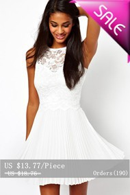 Pure-White-Lace-Skater-Dress-with-Pleated-Skirt-LC2902-11464