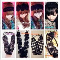 Beautyful lady Korean 20style black flowers for headbands elastic wide hand made hair bands accessories for women
