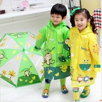 Fashion cartoon children raincoat baby boys and girls students schoolbag bit green poncho