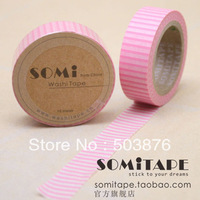 15mm*10m  4 rolls/lot Stripe serial 4 peices set washi tape (Pink, Yellow Red, Khaki, Blue Gray) sticker album