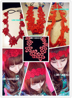 New Fashion Red wedding hair accessories bridal flower embroidery women wide stretch elastic solid lace headbands/hairbands