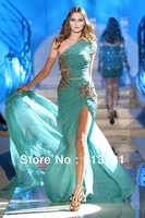 Zuhair Murad  Haute Couture Evening Dresses One Shoulder Green Beading Chiffon Long Slit Front Prom Dresses 2012  ZH17
