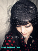 Mini fashion party black birdcage veil adornment for the wedding hair accessories bridal fascinator headbands hats