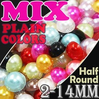 Mix Plain Colors Half Round Flatback Pearls 2mm 3mm 4mm 5mm 6mm 8mm  10mm ,loose imitation ABS pearl beads for DIY Nail Art