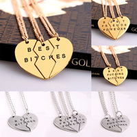 New Chic Best Bitches Best Friend Forever Broken Heart Parts Pendant Necklace Chain Fashion Jewelry Gifts Friendship Love Sister