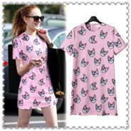 00002_free-shipping-europe-new-arrival-2015-summer-animal-print-head-short-sleeve-women-dresses-pink-casual