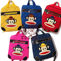 primary school students backpack monkey zipper  pu outing bag Free Shipping Children's Gifts