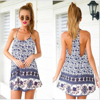 Loss Promotion 2015 Women Summer Dress Backless Sleeveless Casual Print Beach Dresses Halter Soft Mini Sexy vestidos de fiesta