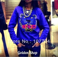 New 2014 Women's BLUE ken Cute Paris letter Embroidered tiger print Pullover Hoodies Sweatshirt S m l