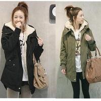 Promotion[X.99] S M L XL XXL Women Long Sleeve Thicken Fleece Hooded Parka Lady Winter Coat Jacket Outwear Green Black Plus Size