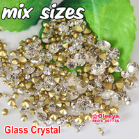 Mix Sizes! 7 Sizes Crystal Clear 144pcs Point Back Rhinestones Glass Chaton Stone SS6 SS8 SS10 SS12 SS16 SS20 SS29 Y3019