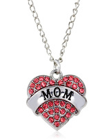 Jewelry Fashion Silver Tone Crystal Rhinestone Mom Heart Word Necklace For Women Family Member Jewelry as mom best gift