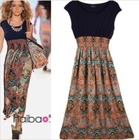 Cheap!New 2015 Spring Summer Women Casual Fashion Vintage Print Chiffon Patchwork Bohemian desigual Dress Vestidos Free Shipping