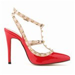 Free-shipping-New-Women-s-High-heeled-shoes-Rivets-Fashion-Splice-color-Pointed-Toe-Pumps-Summer