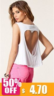 Crop-Top-Summer-T-shirt-2015-Solid-Sleeveless-Back-Heart-Shape-Hollow-Out-V-neck-T