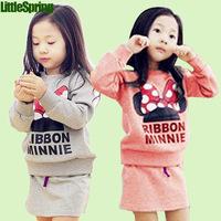 Children suits girls spring suit t shirt+skirt 2pcs suit Mickey Minnie Bow Set Children's clothing Set kids wholesale and retail